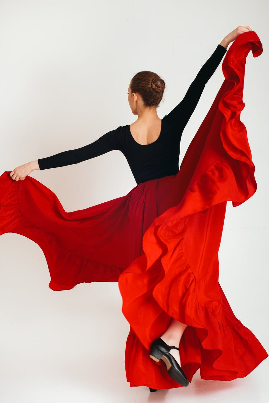 anonymous woman in skirt for flamenco dance