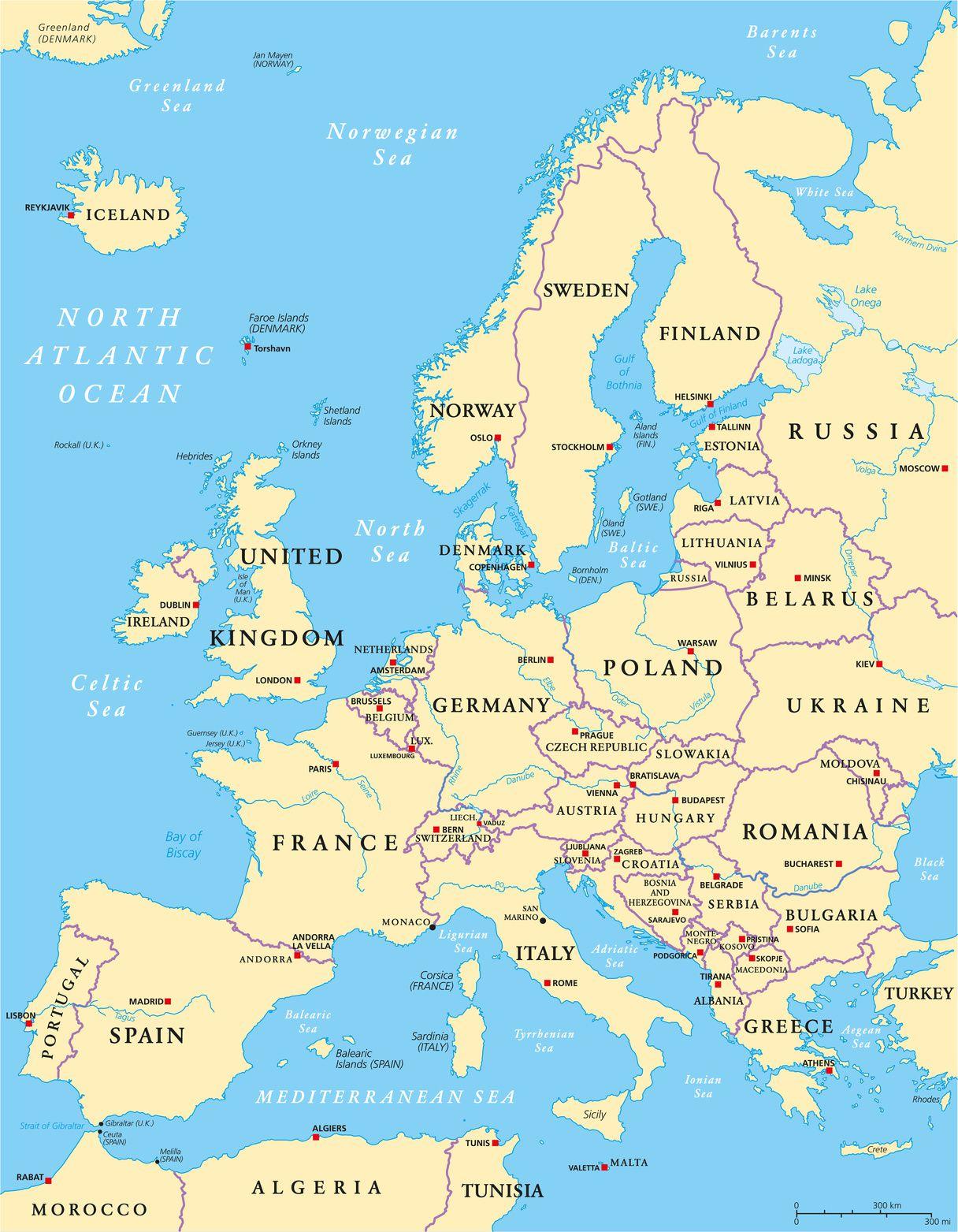 Carte Des Fleuves Du Monde : carte, fleuves, monde, Carte, L'Europe, Cartes, Reliefs,, Villes,, Pays,, Euro,, Vierge...