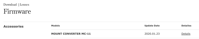 Sigma lance une nouvelle mise à jour du firmware pour le MC-11 et de nombreux objectifs