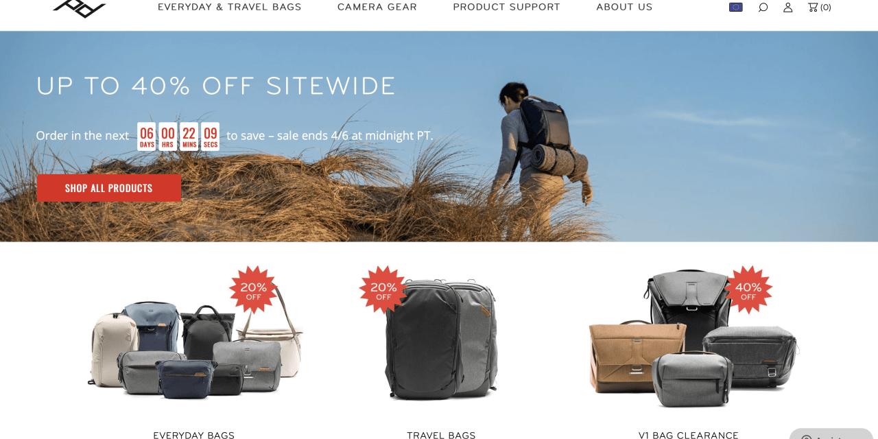 Vente promotionnelle Peak Design : économisez jusqu'à 40%