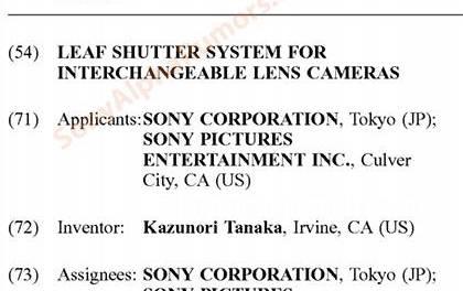 Un nouveau brevet d'un mécanisme d'obturation pour Sony
