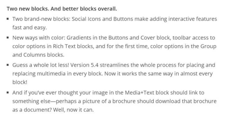 WordPress 5.4 Block Updates