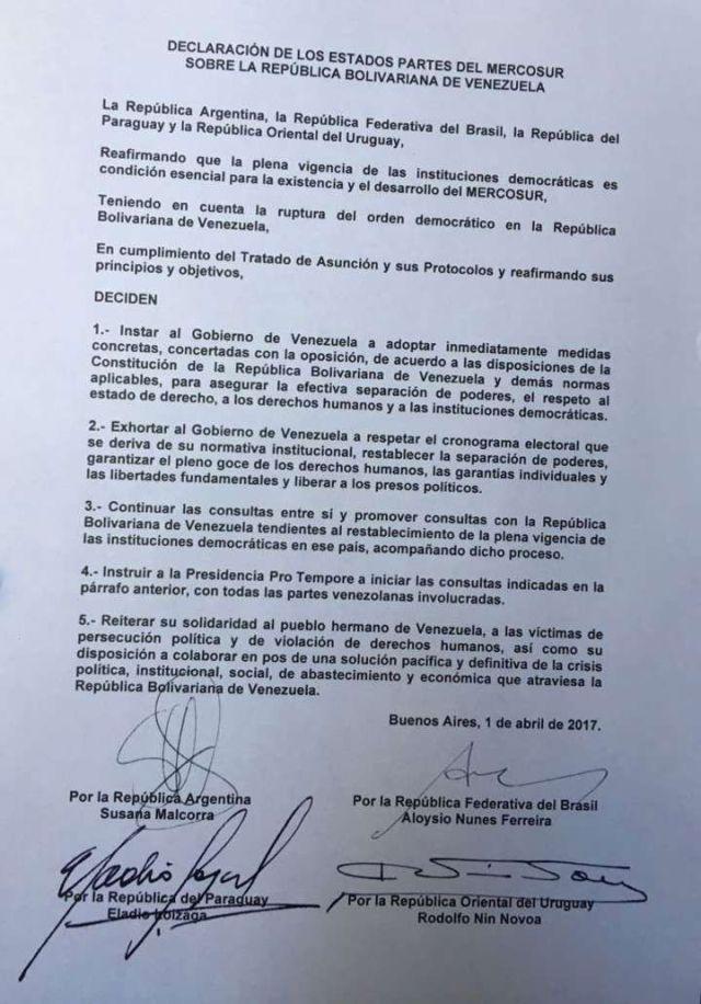"Mercosur insta a Venezuela a respetar la ""separación de poderes"""
