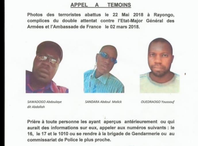 Appel à Témoins : Les terroristes abattus le 22 mai 2018 à Rayongo