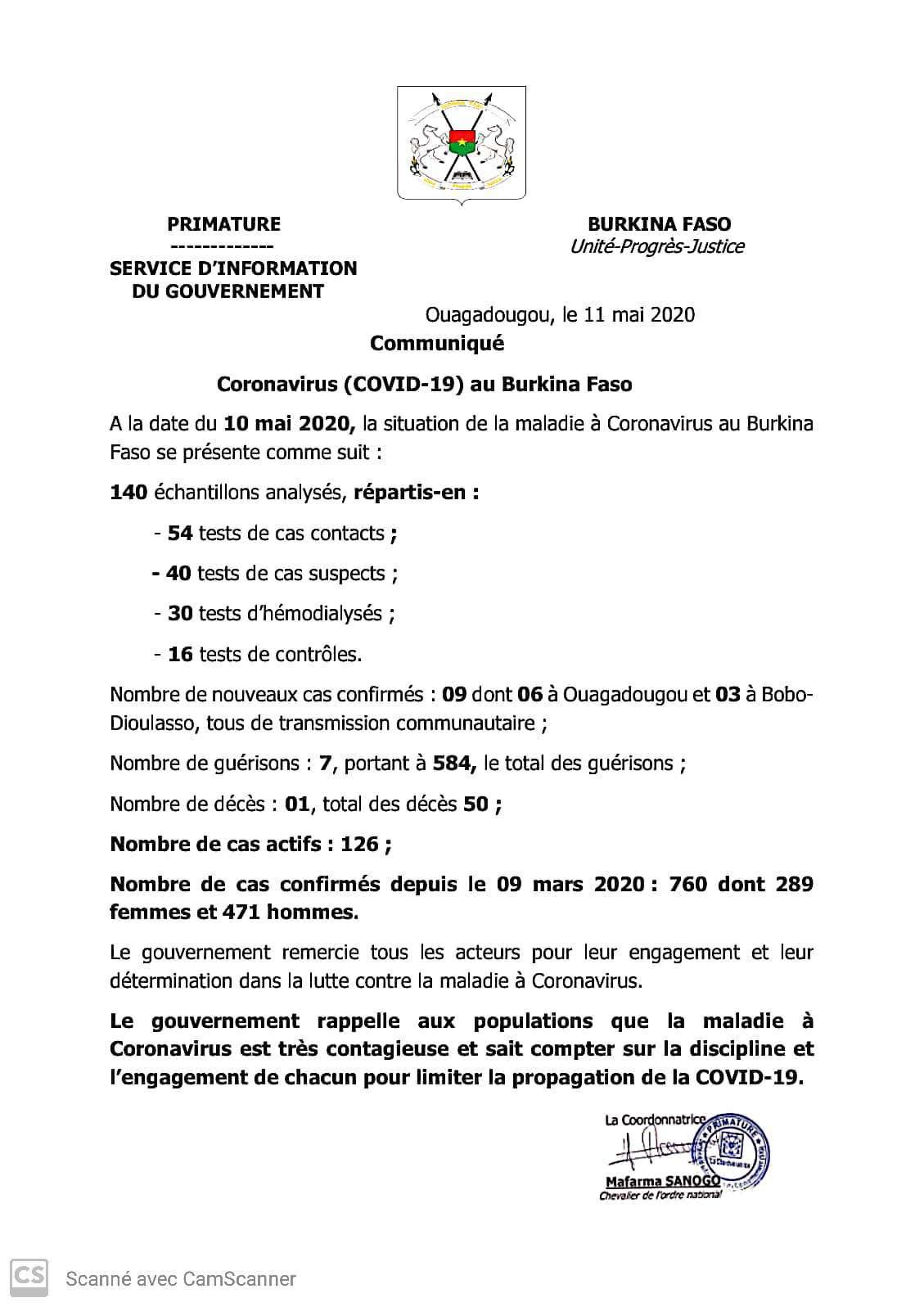 CORONAVIRUS : 9 nouveaux cas confirmés, 7 guérisons et 1 décès à la date du 10 mai