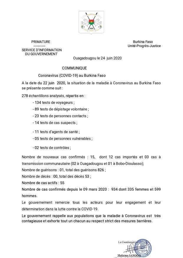 CORONAVIRUS : 15 nouveaux cas confirmés, 01 guérison et 00 décès à la date du 22 juin 2020