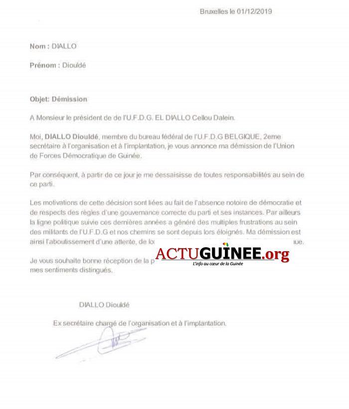 UFDG demission - UFDG : Voici pourquoi j'ai démissionné de mon poste en Belgique…! (Diouldé Diallo)