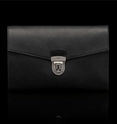 Prada  Saffiano Leather Document Holder - This holder is detailed with polished steel hardware, logo embossed on push lock clasp. Two inside compartments with Prada logo lining £500