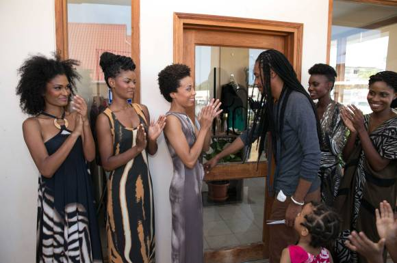 Kaj's President and Creative Director, Kevin Ayoung-Julien (Fourth from Left), and the brand's CEO, Liza Miller (Third from left), cut the ribbon officially launching the Kaj Flagship Boutique, Tobago [Trinidad and Tobago]