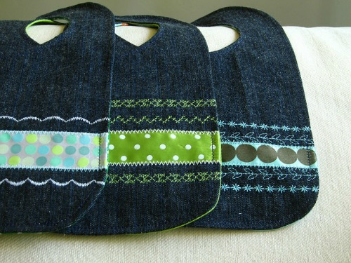 upcycled jean bibs