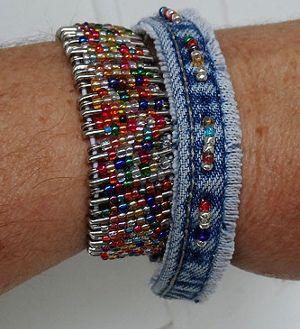 upcycled denim bracelet