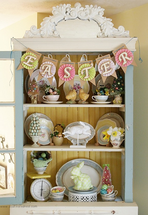 Easter Decorating Ideas China Cabinet