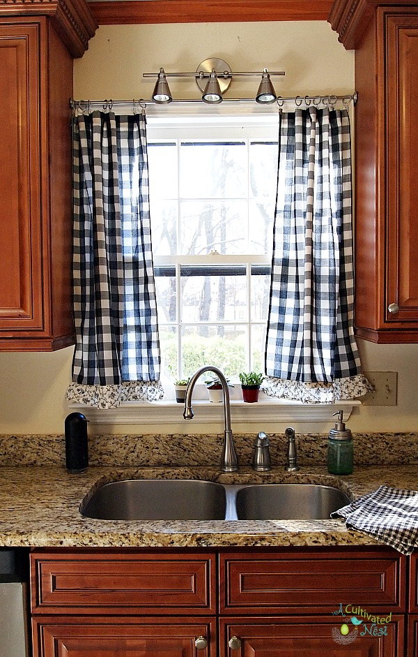 kitchen curtians narrow countertops frugal decorating rugal you can find something at a good price and put little work