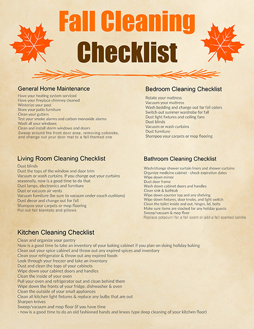 Fall Cleaning Checklist Amp Free Printable Cleaning Schedule