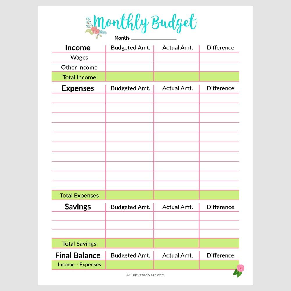 weekly paycheck budget printable