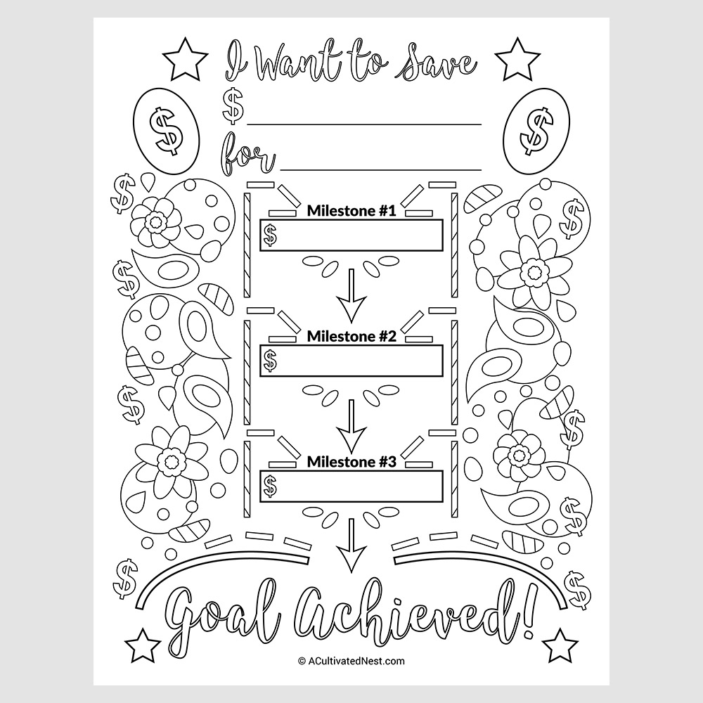 Savings Goal Planner Printable Coloring Page- A Cultivated