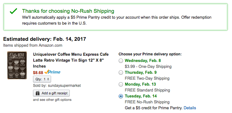 save money with Amazon Prime Pantry