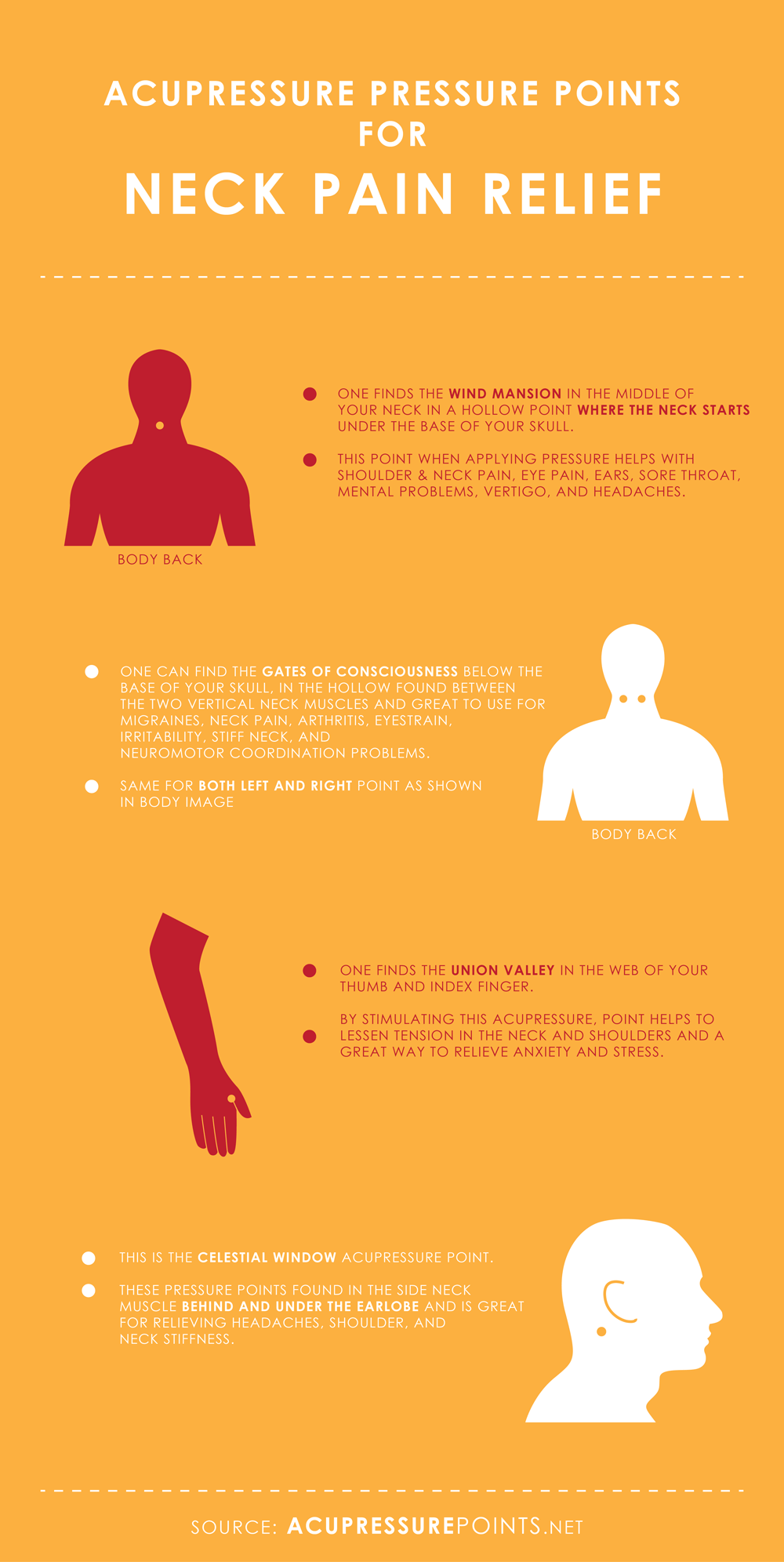 Acupressure Points for Neck Pain Relief Infographic