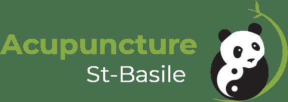 Logo Acupuncture St-Basile - Panda qui tient le signe du Ying et du Yang avec tige de bambou