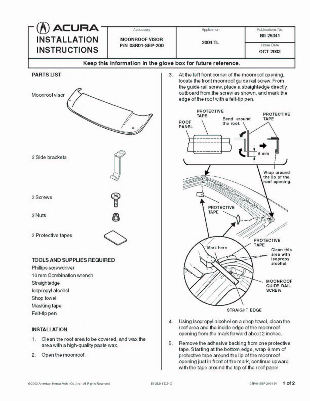 Service manual [1996 Acura Tl Visor Installation