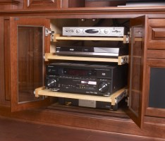 Specialty slide out media shelf cherry