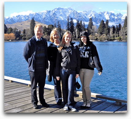 Alastair, Kay, Laura & Hannah in Queenstown, NZ; August 2009