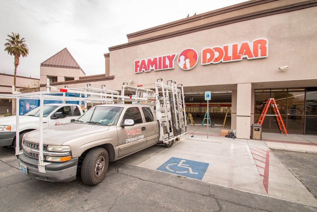 Commercial Storefront Glass Project - Family Dollar Off Of Rainbow & Charleston