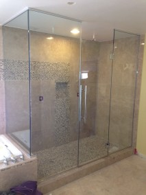 Custom Frameless Shower with Ladder Pull