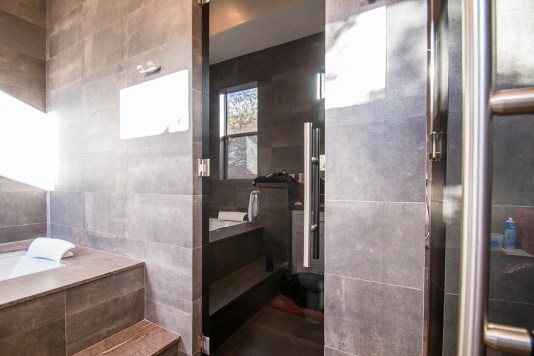 Custom Dark Grey Glass Shower Door Enclosure