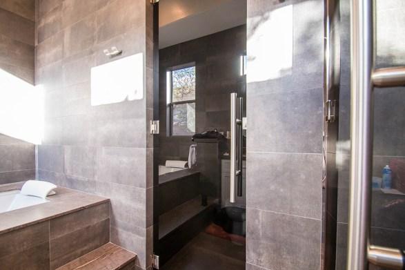 Custom Dark Grey Glass Shower Door Enclosure