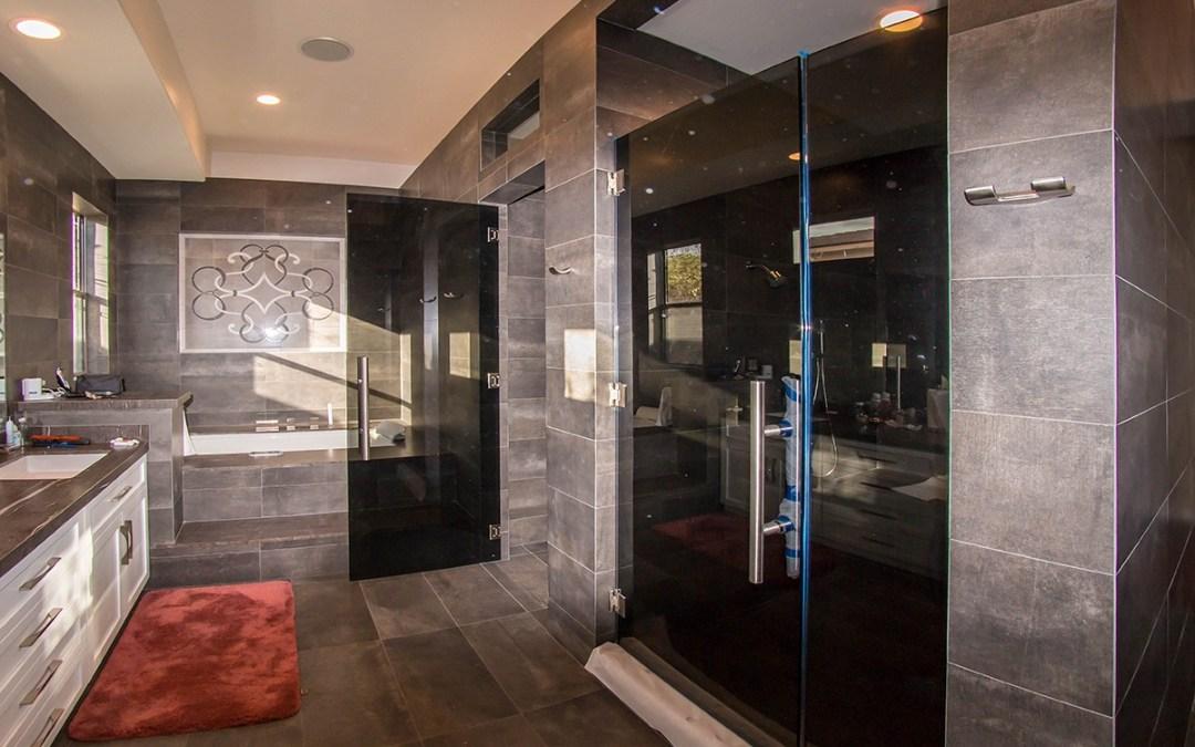 Custom Residential Gray Tempered Glass Shower Door Enclosure Installation