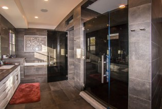 Full Bathroom Image - Custom Dark Grey Shower Door Enclosure