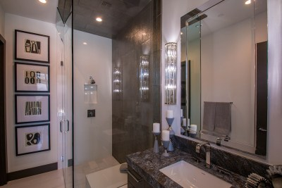Close-Up of Custom Shower Door Enclosure and Mirror