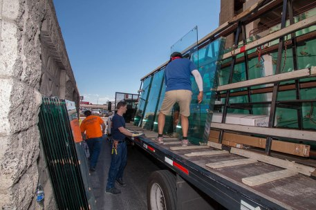 A Cutting Edge Glass Employees Unloading Project Glass