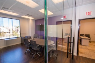 Heavy Glass Wall Corner - Marsy's Law Conference Room