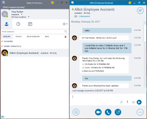 Chatbot on Skype for Business