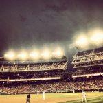 アメリカの野球場を3塁側から見た