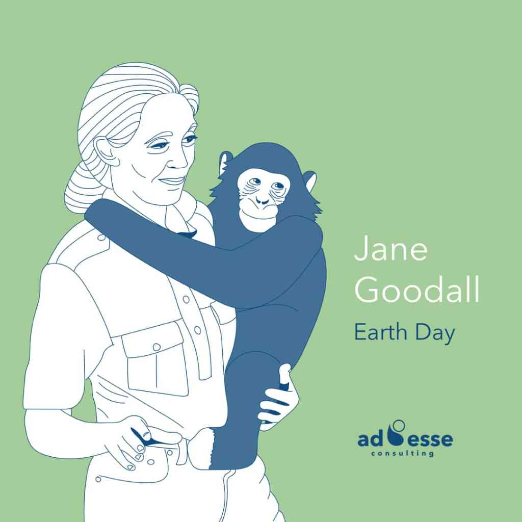 Ad Esse Consulting Jane Goodall earth day illustration