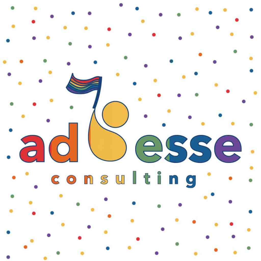 Ad Esse Consulting pride month logo with rainbow flag