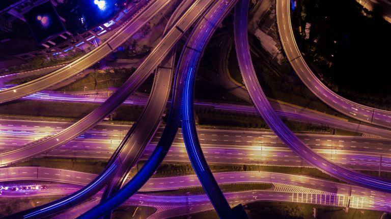 Aerial photography of roads during night time