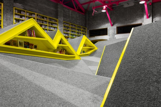 children's library with mountains of shelves