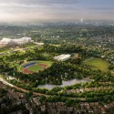 Plans Unveiled For Crystal Palace Rebuild Aerial view . Image © ZhongRong Group