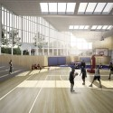 Inter National Design Win Competition with Modular School Complex View of gymnasium. Image Courtesy of Inter National Design