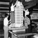 """MoMA Exhibit: Frank Lloyd Wright and the City: Density vs. Dispersal Model of the H.C. Price Company Tower under construction by Taliesin Fellows. n.d. Photograph, 7 3/4 x 9 1/2"""" (19.7 x 24.1 cm). The Frank Lloyd Wright Foundation Archives (The Museum of Modern Art   Avery Architectural & Fine Arts Library, Columbia University, New York)"""