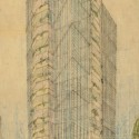 """MoMA Exhibit: Frank Lloyd Wright and the City: Density vs. Dispersal Frank Lloyd Wright (American, 1867–1959). St. Mark's-in-the-Bouwerie Tower, New York. Project, 1927–31. Perspective. Pencil and colored pencil on tracing paper, 28 1/4 x 10 1/8"""" (71.8 x 25.7 cm). The Frank Lloyd Wright Foundation Archives (The Museum of Modern Art   Avery Architectural & Fine Arts Library, Columbia University, New York)"""