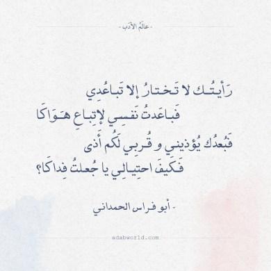 شعر أبو فراس الحمداني - رأيتك لا تختار إلا تباعدي