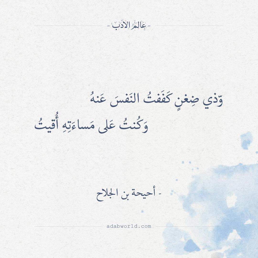 وذي ضغن كففت النفس عنه - أحيحة بن الجلاح