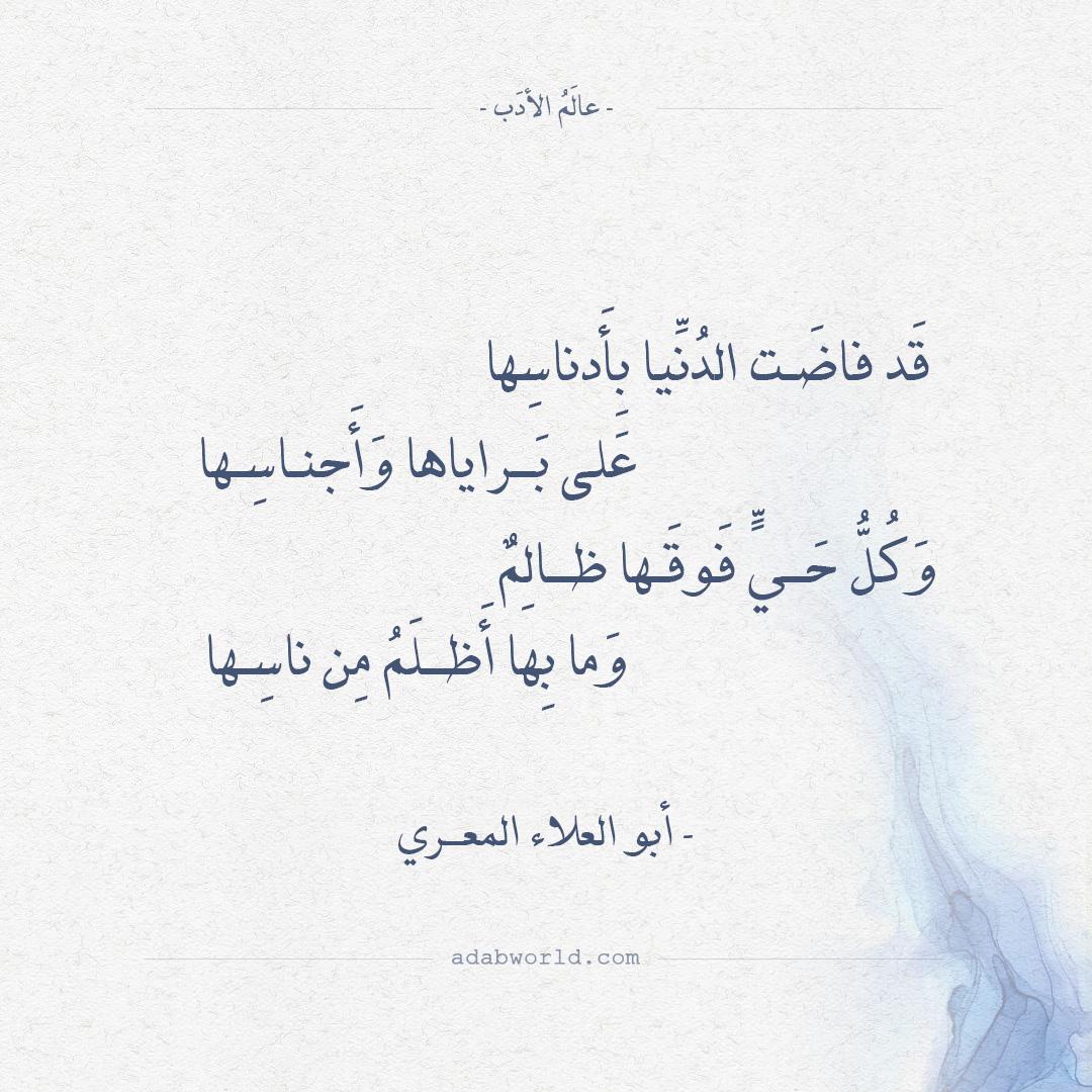 شعر أبو العلاء المعري - قد فاضت الدنيا بأدناسها