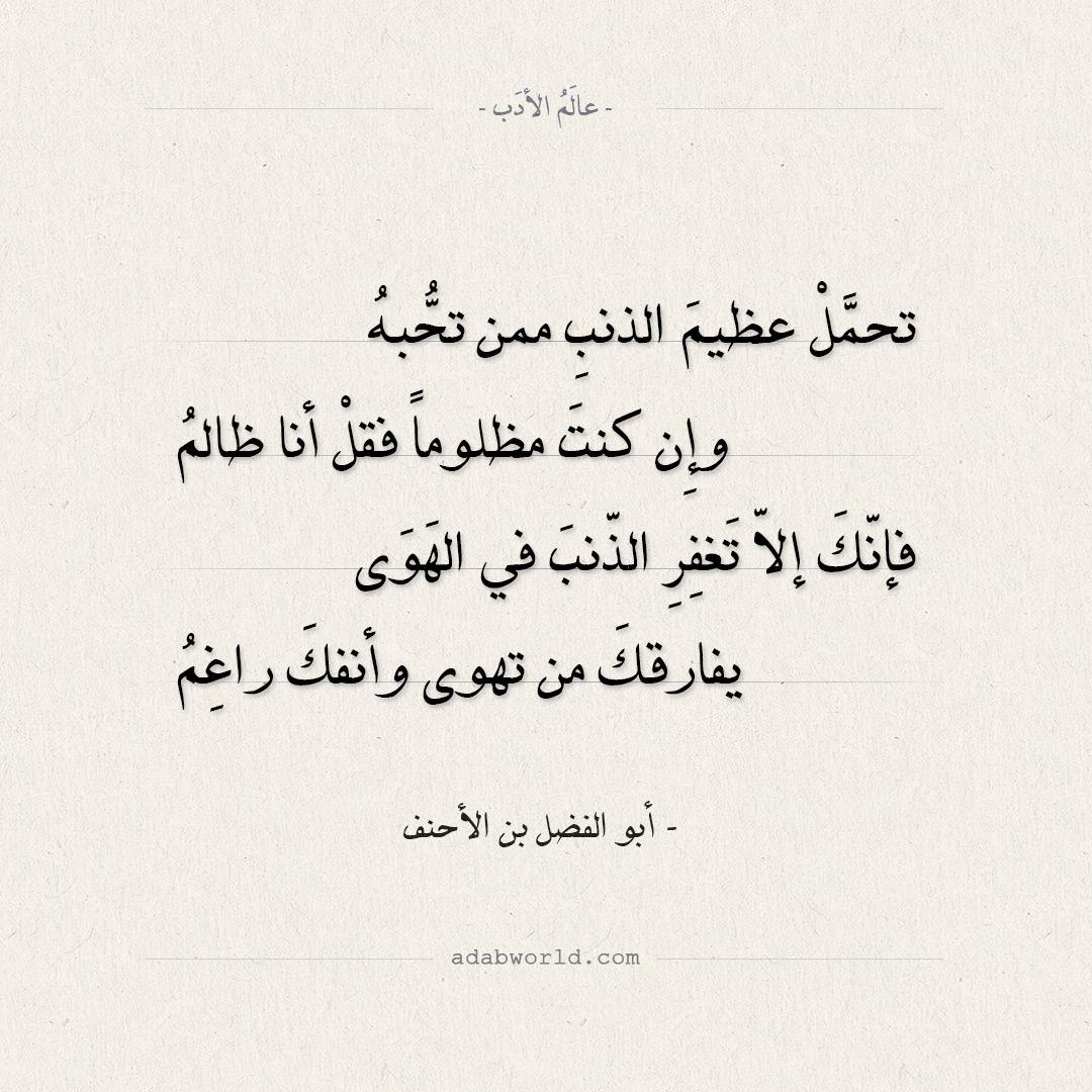 شعر أبو الفضل بن الأحنف - تحمل عظيم الذنب ممن تحبه