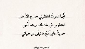 اقتباسات محمود درويش - أَيها الموت انتظرني